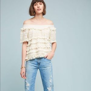 Love Sam Tasseled Off the Shoulder Top